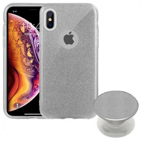 Capa Glitter Prata Motorola G7
